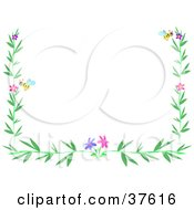 Stationery Border Of Green Leaves Colorful Flowers And Bees