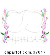 Stationery Border Of Pink Plants Leaves And Flowers