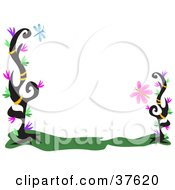 Stationery Border Of Black Plants With Colorful Leaves A Dragonfly And Butterfly