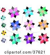 Clipart Illustration Of Fourteen Colorful Asian Styled Flowers by bpearth