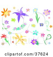 Clipart Illustration Of Flowers A Butterfly And Dragonfly by bpearth