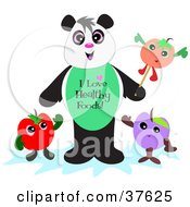 Clipart Illustration Of A Healthy Panda With Fruit by bpearth