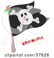 Clipart Illustration Of A Happy Skull And Crossbones On A Black Pirate Flag