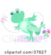 Clipart Illustration Of A Green Frog Running And Chasing After A Dragonfly