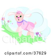 Clipart Illustration Of A Happy Pink Dog Standing On A Hill With Flowers by bpearth