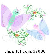 Clipart Illustration Of Blue And Purple Butterflies With Floral Vines