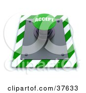 Clipart Illustration Of A Green Accept Push Button On A Control Panel by KJ Pargeter