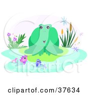 Clipart Illustration Of A Friendly Green Frog On A Lily Pad Talking To Fish In A Pond