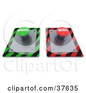 Clipart Illustration Of Green And Red Accept And Reject Push Buttons On A Control Panel