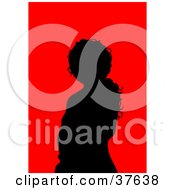 Clipart Illustration Of A Black Silhouetted Female Avatar With A Red Background
