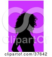 Clipart Illustration Of A Black Silhouetted Female Avatar With A Purple Background by KJ Pargeter