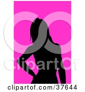 Clipart Illustration Of A Black Silhouetted Female Avatar With A Pink Background