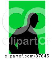 Clipart Illustration Of A Black Silhouetted Male Avatar With A Green Background by KJ Pargeter