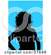 Clipart Illustration Of A Black Silhouetted Female Avatar With A Blue Background by KJ Pargeter