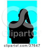 Clipart Illustration Of A Black Silhouetted Male Avatar With A Bright Blue Background by KJ Pargeter
