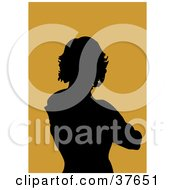Clipart Illustration Of A Black Silhouetted Female Avatar With An Orange Background by KJ Pargeter