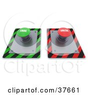 Clipart Illustration Of Green And Red True And False Push Buttons On A Control Panel