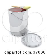 Clipart Illustration Of A Paint Brush Resting On Top Of A Can Of Red Paint
