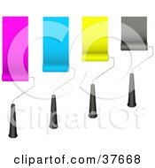Clipart Illustration Of Four Rolling Paint Brushes Painting Pink Blue Yellow And Black Strips On A Wall