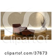 Clipart Illustration Of A Modern Brown Arm Chair And Ottoman In A Living Room