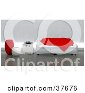 Red Throw Tossed On A Modern White Sofa With A Side Table And Vases In A Contemporary Living Room