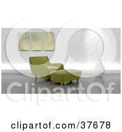 Modern Green Arm Chair And Ottoman In A Living Room With Gray Flooring