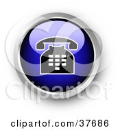 Clipart Illustration Of A Chrome And Blue Shiny Telephone Contact Button by KJ Pargeter