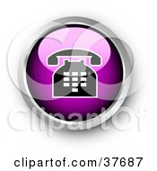 Clipart Illustration Of A Chrome And Purple Shiny Telephone Contact Button by KJ Pargeter