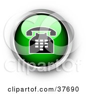 Clipart Illustration Of A Chrome And Green Shiny Telephone Contact Button by KJ Pargeter