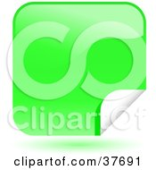 Clipart Illustration Of A Green Shiny Peeling Sticker Labels