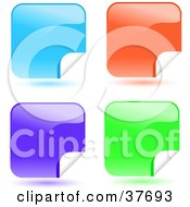 Clipart Illustration Of Four Blue Orange And Green Shiny Peeling Sticker Labels by KJ Pargeter