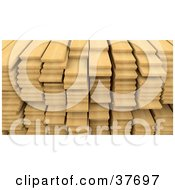 Clipart Illustration Of A Background Of Stacked Wood Planks