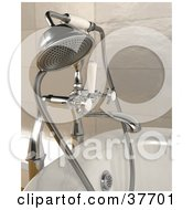 Clipart Illustration Of A Chrome Shower Head Attached To A Bath Tub