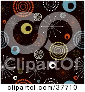 Clipart Illustration Of A Retro Background Of Colorful Bursts And Circles On Black