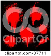 Clipart Illustration Of Red Splatters Of Blood On A Black Background by KJ Pargeter