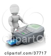 3d White Character Standing Over A Large Credit Card Machine