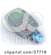 Clipart Illustration Of A Blue Credit Card Resting In The Tray Of A Charge Machine by KJ Pargeter