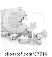 Clipart Illustration Of An Incomplete White Puzzle Wall