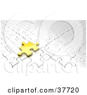 Clipart Illustration Of A Gold Jigsaw Puzzle Piece Resting On A White Puzzle