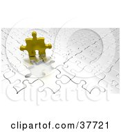 Clipart Illustration Of A Golden Puzzle Piece Above An Empty Space On A Nearly Complete White Puzzle