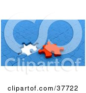 Clipart Illustration Of A Red Puzzle Piece On Top Of A Nearly Completed Blue Puzzle