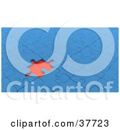 Clipart Illustration Of A Red Empty Space Standing Out In A Nearly Completed Blue Jigsaw Puzzle