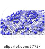 Clipart Illustration Of A Background Of Floating White And Blue Boxes On White by KJ Pargeter