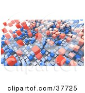 Clipart Illustration Of A Background Of Floating Red And Blue Boxes On White by KJ Pargeter