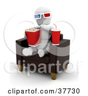 White Character Wearing 3d Glasses Snacking On Popcorn And Soda And Sitting In A Leather Chair At A 3d Movie