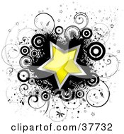 Clipart Illustration Of A Shiny Yellow Star Trimmed In Chrome On A Black Splatter With Circles Stars And Vines
