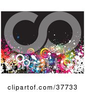 Clipart Illustration Of A Black Background With Colorful Splatters Dots And Circles by KJ Pargeter