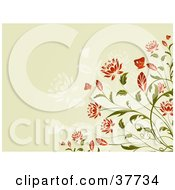 Clipart Illustration Of A Red Flowering Plant With Butterflies On A Beige Background