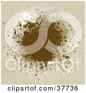 Clipart Illustration Of A Beige And Brown Grunge Splatter Background With Space For Text by KJ Pargeter