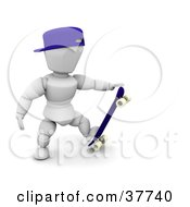 Clipart Illustration Of A 3d White Character In A Hat Stepping On His Skateboard And Grasping The Tip by KJ Pargeter